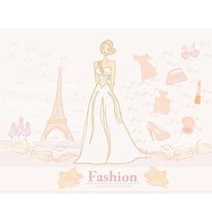 Feminine doodles shopping in paris vector