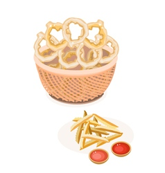French fries and onion ring in a brown basket vector