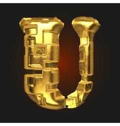 Golden letter u vector
