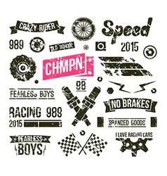 Car races club badges in retro style vector