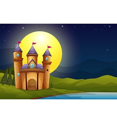 A castle in a full moon scenery vector