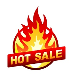 Hot sale fire badge price sticker flame vector
