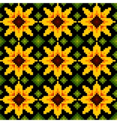 Ethnic sunflower ornament pattern background vector