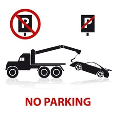 No parking symbols with car and signs eps10 vector