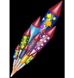 Happy new year - bottle rockets vector