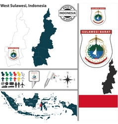 Map of west sulawesi vector