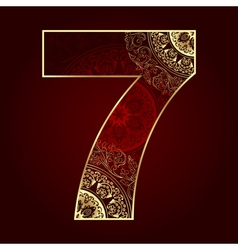 Vintage number 7 with floral swirls vector