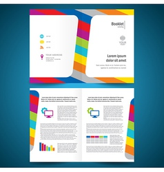 Booklet catalog brochure folder colorful line vector
