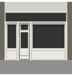 Shopfront with black windows light store facade vector