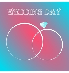 Two wedding rings invitation card vector