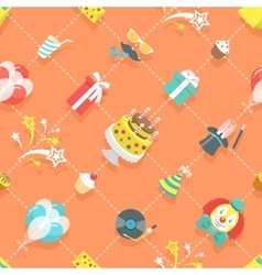 Flat birthday party celebration icons seamless vector