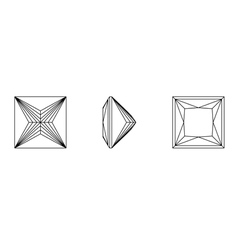 Square shapes of a gemstone against white backgrou vector