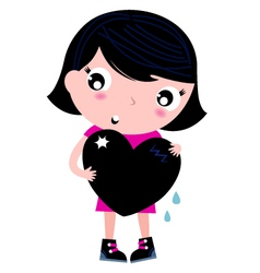 Cute emo girl holding heart isolated on white vector