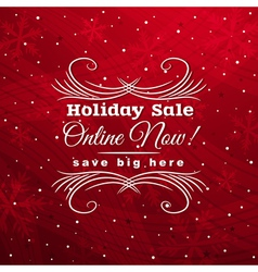 Red christmas background with label for sale vector