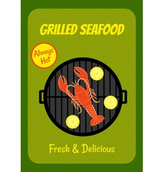 Grilled lobster vector