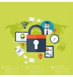 Flat padlock icon data protection concept social vector