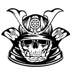 Skull in samurai helmet vector