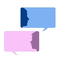 Speech bubbles with male and female face vector