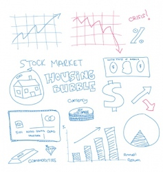 Scribble finance icons vector