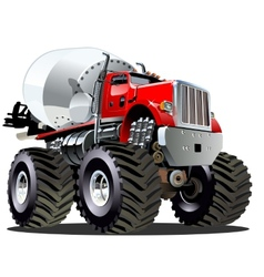Cartoon mixer monster truck vector