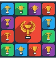 Trophy flat icons vector