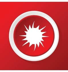 Starburst icon on red vector