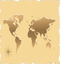 Old map of the world vector