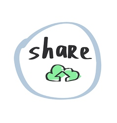 Hand drawn cloud share symbol vector