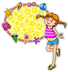 Summer girl and icons vector