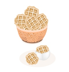 Two baked round waffles in a brown basket vector
