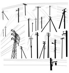 Pylon high voltage power lines silhouette set vector