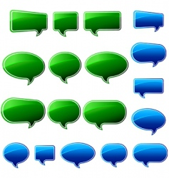 Speech bubbles green and blue vector