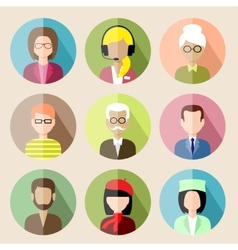 Set of circle flat icons with people vector