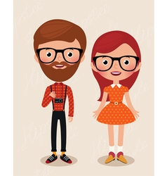 Couple hipsters vector