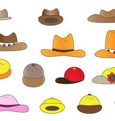 Variety cartoon hats vector