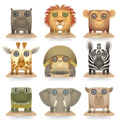 Wild animals icon set vector