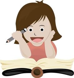 A girl read book vector