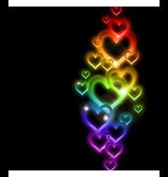 Rainbow heart border with sparkles vector