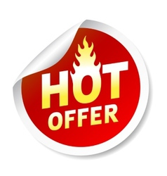 Hot ofer sticker badge with flame vector