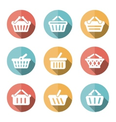 E-shop basket flat icons vector