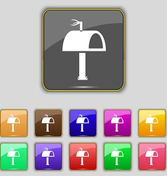 Mailbox icon sign set with eleven colored buttons vector