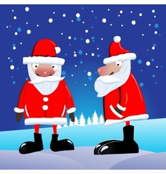 Full-face photo and a profile of santa claus vector