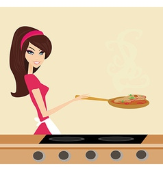 Beautiful housewife cooking on a pan vector