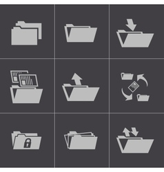 Black folder icons set vector