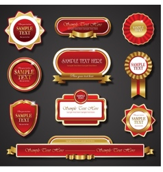 Vintage red gold frame banners vector