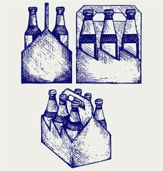 Beer six pack in three boxes vector