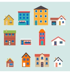 Modern trendy retro house street flat icons set vector