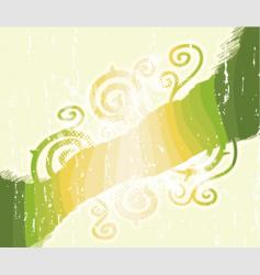Green stripes floral swirls background vector