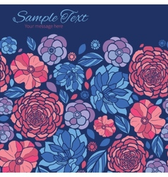 Mosaic flowers horizontal frame seamless vector