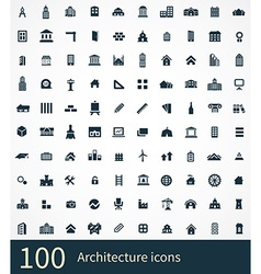 100 architecture icon vector